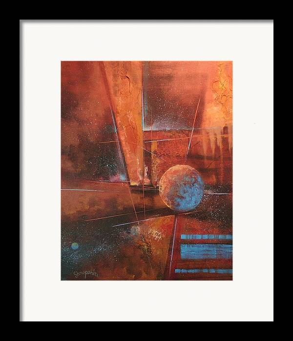 Abstract Art Framed Print featuring the painting Blue Planet by Tom Shropshire