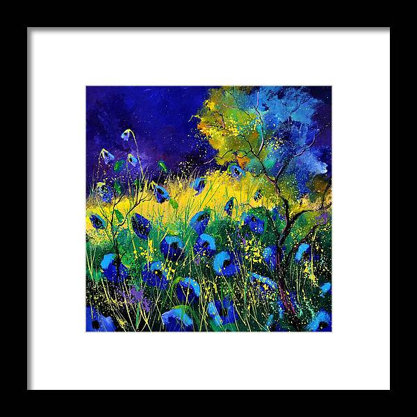 Landscape Framed Print featuring the painting Blue poppies 7741 by Pol Ledent