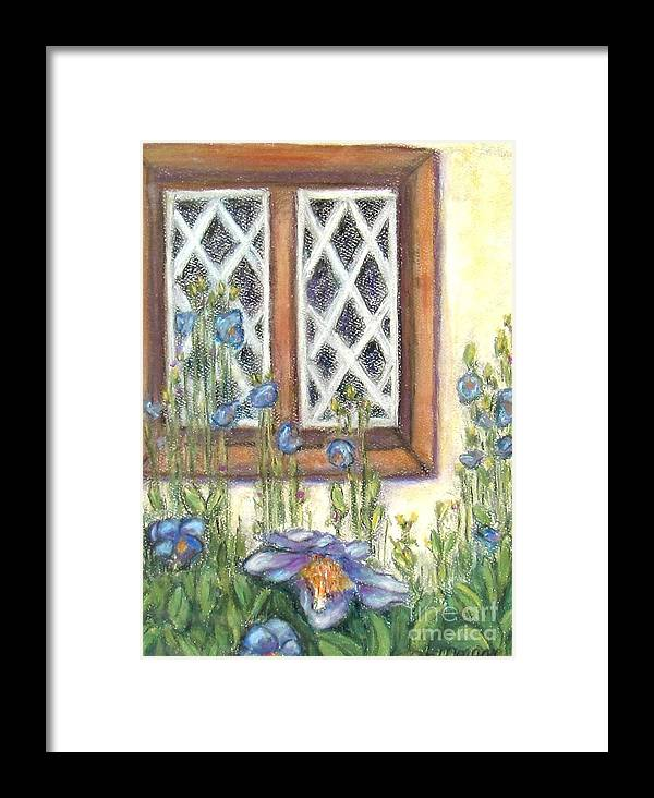 Pastel Framed Print featuring the painting Blue Poppies Of Luss by Laurie Morgan
