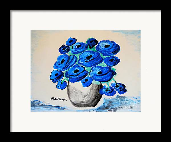 Poppies Framed Print featuring the painting Blue Poppies by Ramona Matei