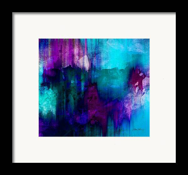 Abstract Framed Print featuring the painting Blue Rain Abstract Art  by Ann Powell