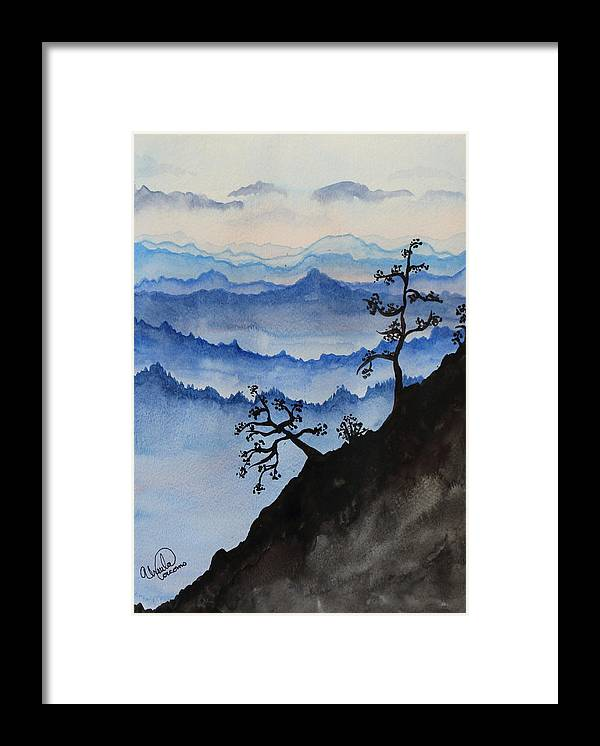 Landscape - Mountain Ridge With An Oriental Look. Framed Print featuring the painting Blue Ridge Mountains by Ursula Coccomo