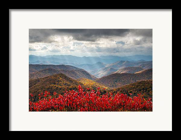 Autumn Framed Print featuring the photograph Blue Ridge Parkway Fall Foliage - The Light by Dave Allen