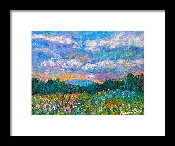 Landscape Framed Print featuring the painting Blue Ridge Wildflowers by Kendall Kessler