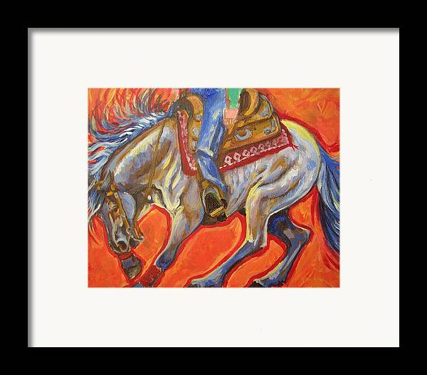 Horse Framed Print featuring the painting Blue Roan Reining Horse Spin by Jenn Cunningham