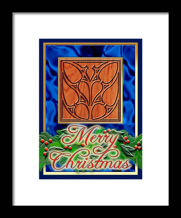 Christmas Framed Print featuring the digital art Blue Satin Merry Christmas by Melissa A Benson
