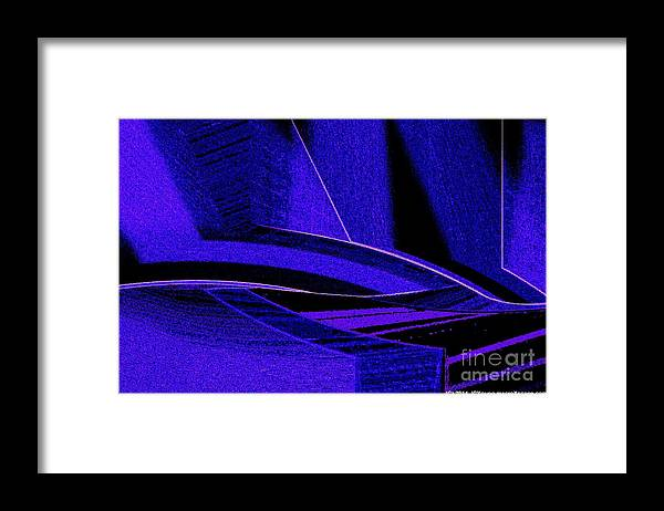 Abstract Art In Blue Framed Print featuring the digital art Deep Blue Sharks by JCYoung MacroXscape