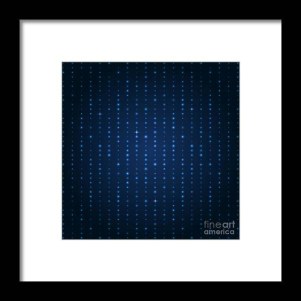 Glossy Framed Print featuring the digital art Blue Shining Pattern. Vector Background by Mastak A