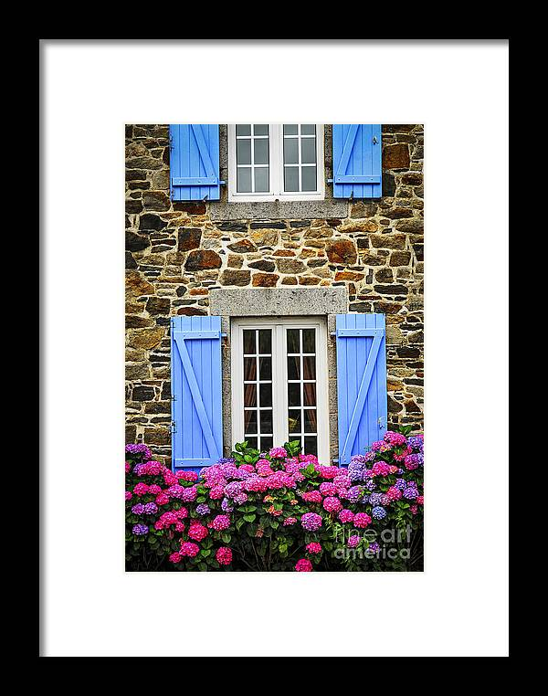House Framed Print featuring the photograph Blue Shutters by Elena Elisseeva