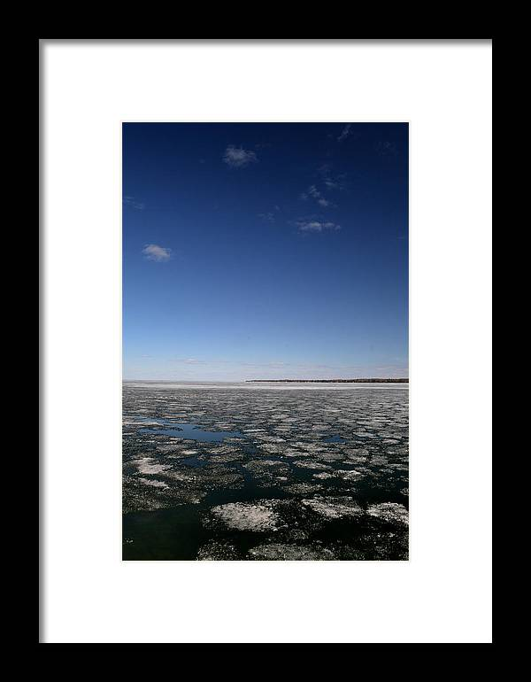 Blue Framed Print featuring the photograph Blue Sky Above The Ice 2 by Lyle Crump