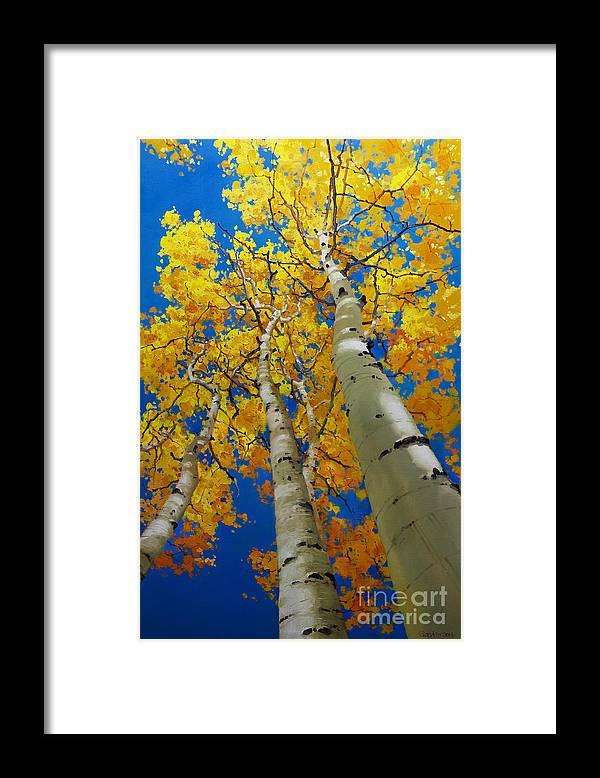 Blue Sky And Tall Aspen Trees Framed Print featuring the painting Blue Sky and Tall Aspen Trees by Gary Kim