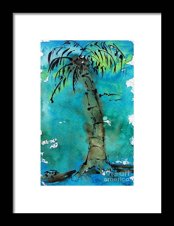 Watercolor Framed Print featuring the painting Blue Sky Palm by Norma Gafford