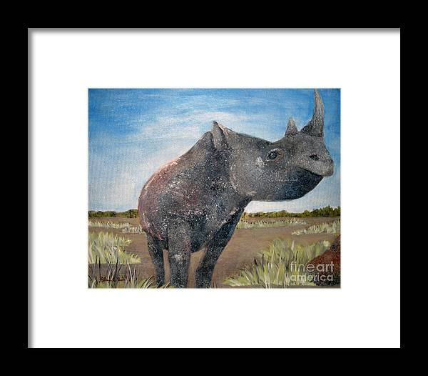 Rhino Framed Print featuring the painting Blue Sky Rhino by Susan Plenzick