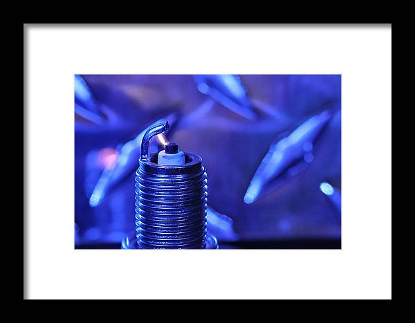 Sparkplug Framed Print featuring the photograph Blue Spark by David Andersen