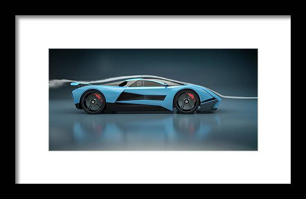 Aerodynamic Framed Print featuring the photograph Blue Sports Car In A Wind Tunnel by Mevans