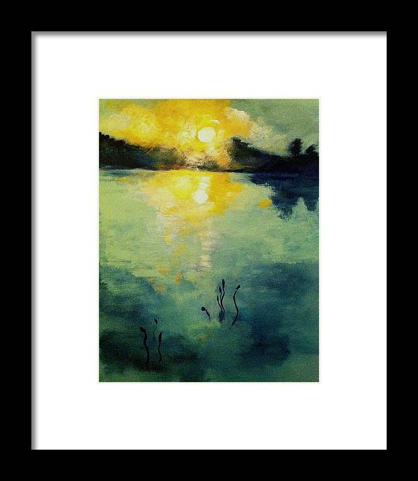 Sun Framed Print featuring the painting Blue Sun by Jean Messner