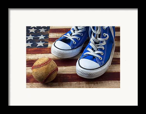 Blue Framed Print featuring the photograph Blue Tennis Shoes And Baseball by Garry Gay
