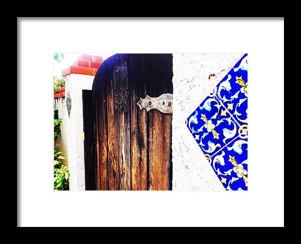 Door Framed Print featuring the photograph Blue Tile Brown Door 1 by Korynn Neil