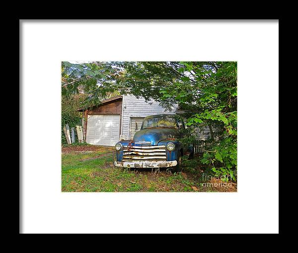 Pick Up Truck Framed Print featuring the photograph Blue Truck by Nancy Patterson