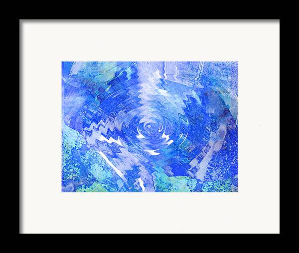 Blue Framed Print featuring the digital art Blue Twirl Abstract by Ann Powell