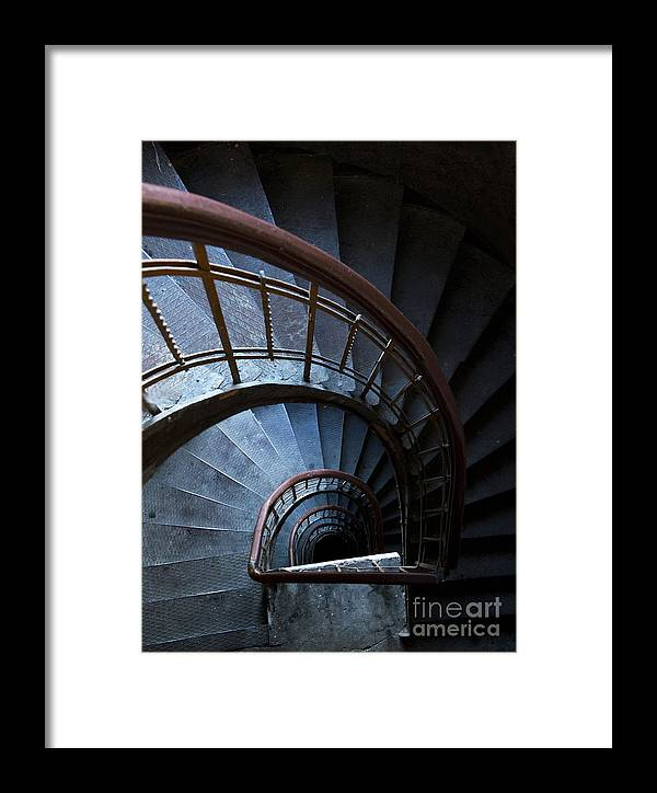 Blue Framed Print featuring the photograph Blue Vintage Staircase by Jaroslaw Blaminsky