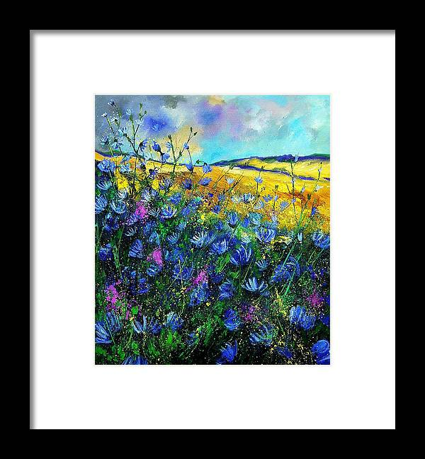 Flowers Framed Print featuring the painting Blue Wild Chicorees by Pol Ledent