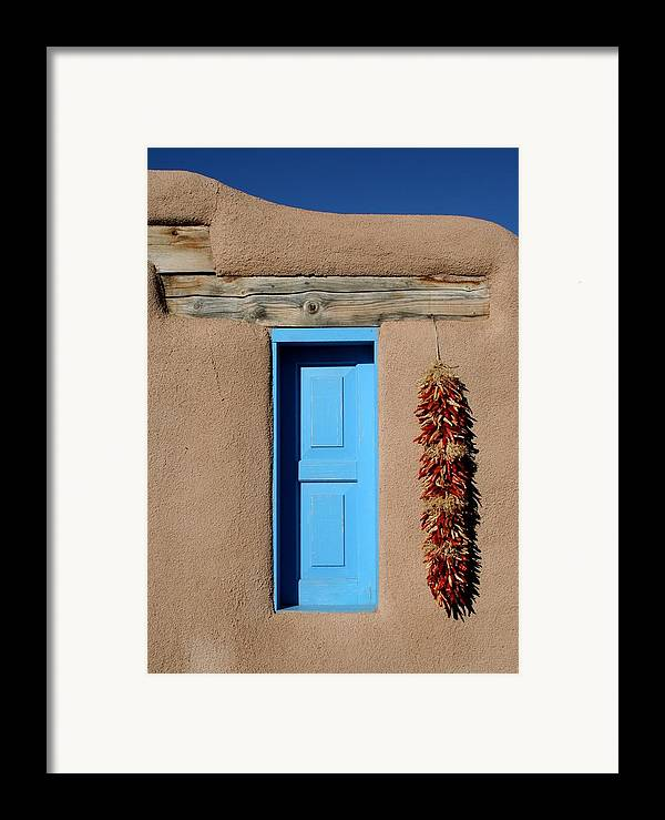 Taos Framed Print featuring the photograph Blue Window Of Taos by Heidi Hermes
