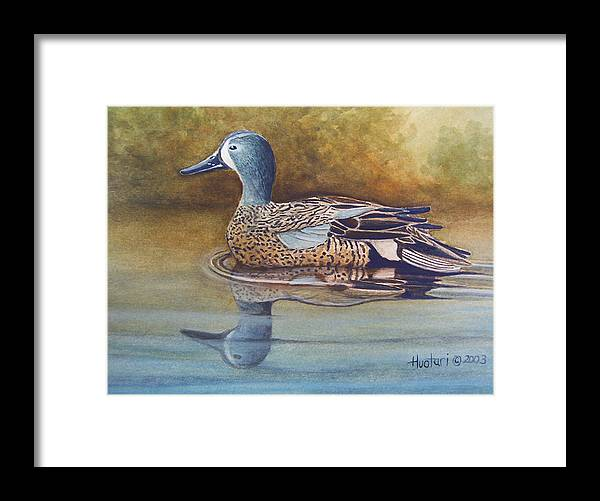 Rick Huotari Framed Print featuring the painting Blue Winged Teal by Rick Huotari