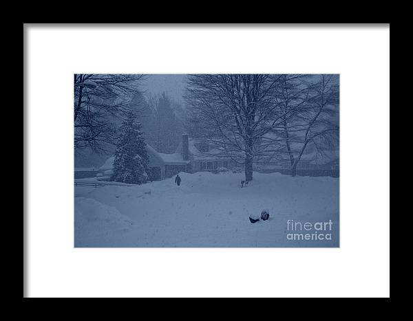 Winter Blizzard Scenes Lost In Snow Framed Print featuring the photograph Blue Winter by Rick Bragan