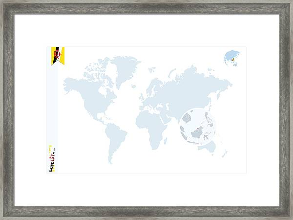 Blue World Map With Magnifying On Brunei Framed Print By Boldg