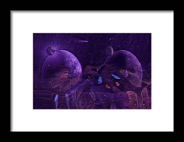 Butterfly Framed Print featuring the digital art Solar Blue by Joseph Mosley