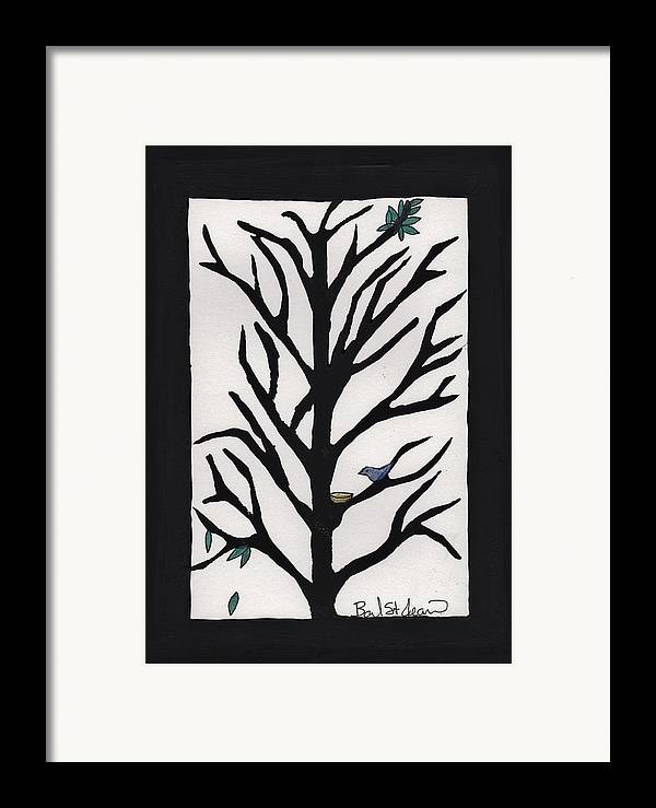 Bluebird In A Pear Tree Framed Print featuring the painting Bluebird In A Pear Tree by Barbara St Jean