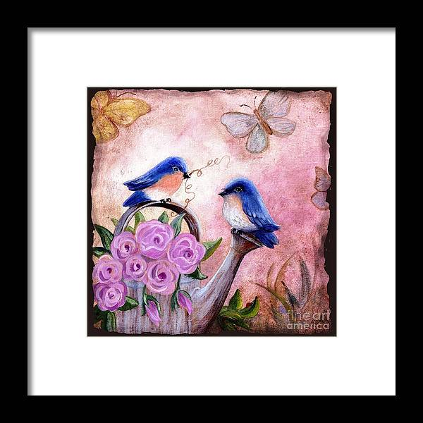 Shabby Chic Framed Print featuring the painting Bluebirds And Butterflies by Marilyn Smith