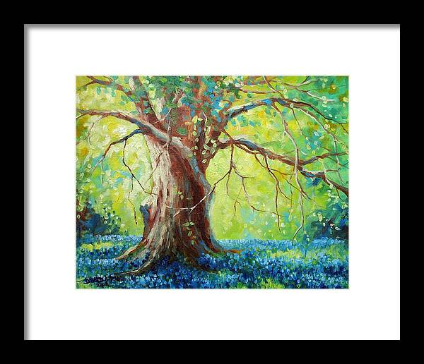 Bluebonnets Framed Print featuring the painting Bluebonnets Under The Oak by David G Paul