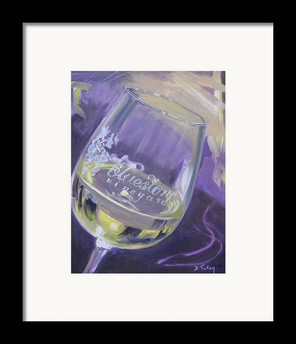 Wine Framed Print featuring the painting Bluestone Vineyard Wineglass by Donna Tuten