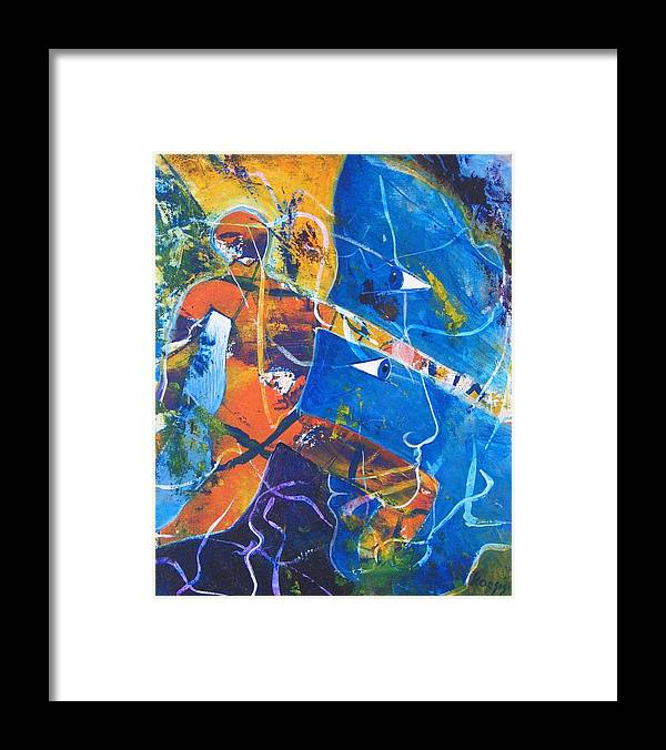 Face Framed Print featuring the painting Blurred Lines by Rollin Kocsis