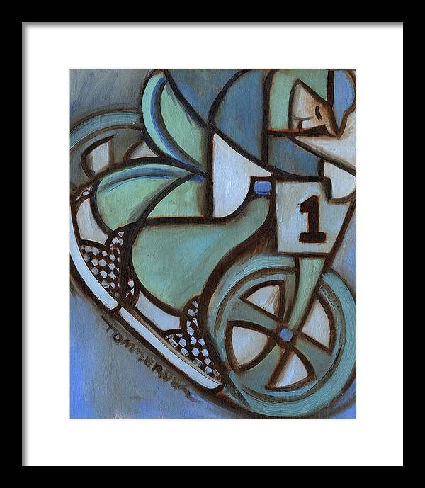 Bmx Framed Print featuring the painting Bmx Freestyle Art Print by Tommervik