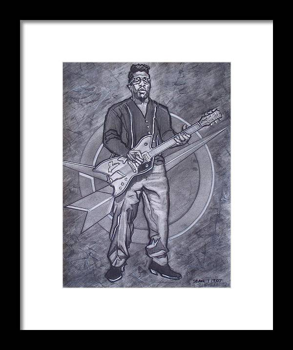 Texas;charcoal;king Of Rock;rock And Roll;music;1950s;blues;musician;funk;electric Guitar;marble;soul Framed Print featuring the drawing Bo Diddley - Have Guitar Will Travel by Sean Connolly