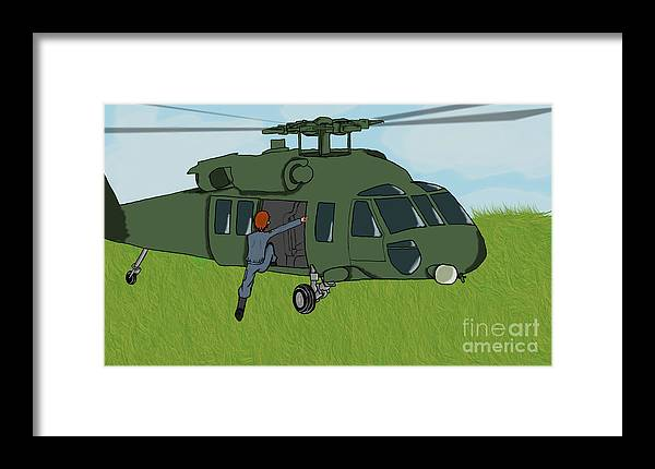 Helicopter Framed Print featuring the digital art Boarding A Helicopter by Yael Rosen