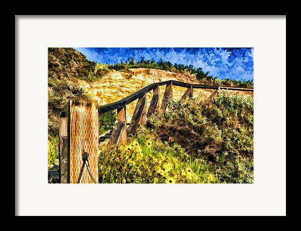 Boardwalk Steps Framed Print featuring the painting Boardwalk Steps by Anthony Citro