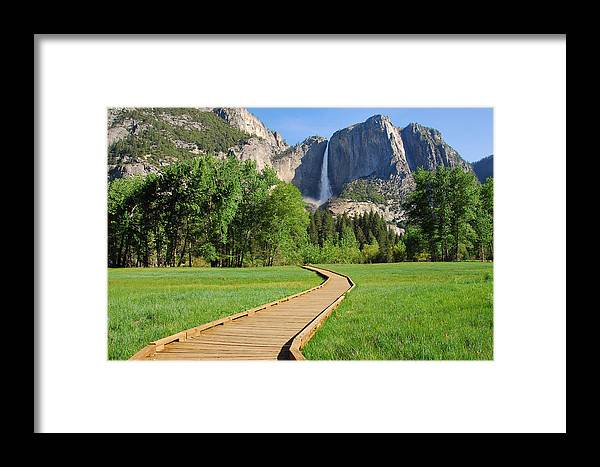 Yosemite National Park Framed Print featuring the photograph Boardwalk To Yosemite Falls by Lynn Bauer