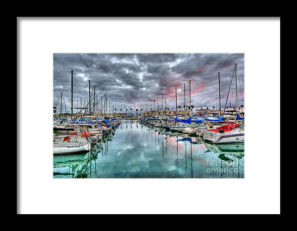Oceanside Framed Print featuring the photograph Boat Harbor Stormy Sunset In Oceanside California by Christy Woodrow