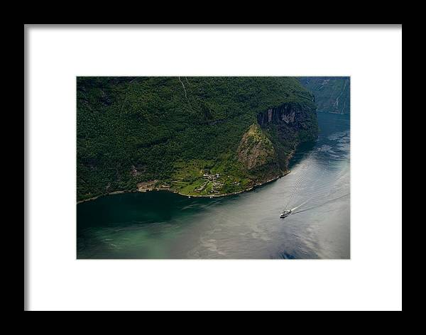 Small Framed Print featuring the photograph Boat In Geirangerfjord by Benjamin Reed