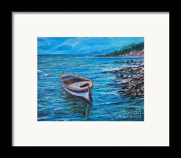 Beach And Waves Framed Print featuring the painting Boat by Sinisa Saratlic