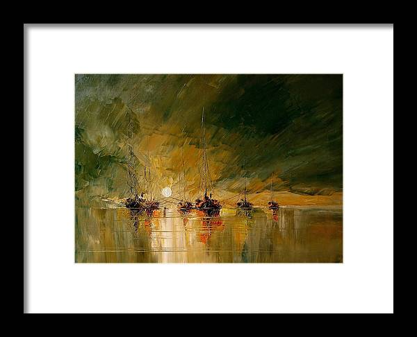 Boat Framed Print featuring the painting Boat by Tian Chen