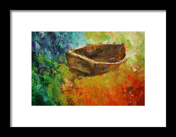 Abstract Framed Print featuring the painting Boat1 by Ted Castor