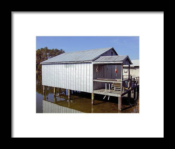 Framed Print featuring the photograph Boathouse At Low Tide by David Nichols