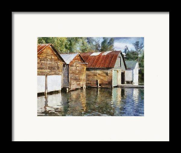 Boat Houses Framed Print featuring the photograph Boathouses On The Torch River Ll by Michelle Calkins