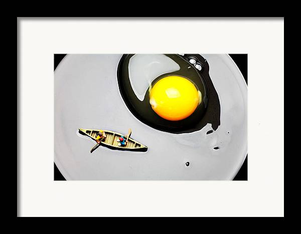 Boating Framed Print featuring the photograph Boating Around Egg Little People On Food by Paul Ge