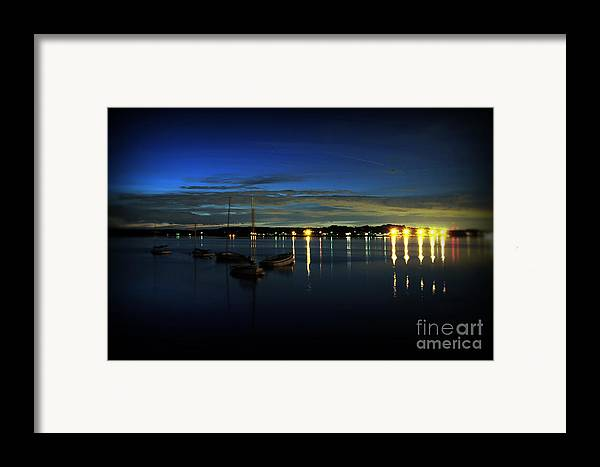 Boat Framed Print featuring the photograph Boating - The Marina At Night by Paul Ward